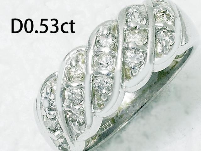 音羽屋■送料無料■ ダイヤモンド 0.53ct Pt900 デザイン リング 仕上済 人気ブランド多数対象 商店 11号 プラチナ 中古