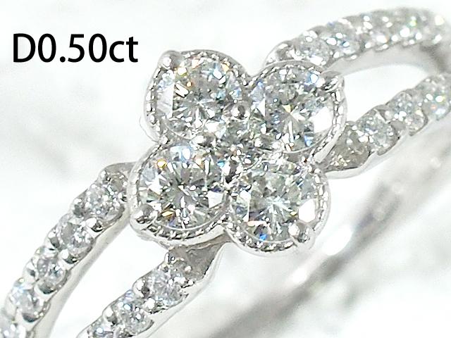 音羽屋■送料無料■ ダイヤモンド 0.50ct Pt900 休日 デザイン 10号 プラチナ 大人気 中古 リング 仕上済