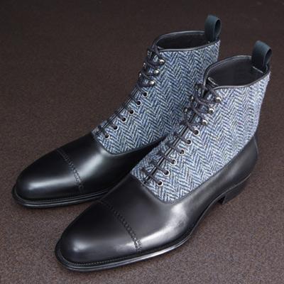【大塚製靴】M5-108 編み上げブーツ(ハリスツイード) ブラック[M5-108 Lace-up Boots
