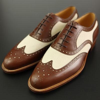 【皇室御用達 大塚製靴】M5-236 コットンコンビ内羽根フルブローグCombinationFullBrogueOxfordブラウン