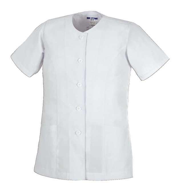調理用白衣・女子用25106 <BR>半袖上衣(衿なし) 5L