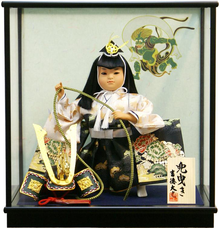 【五月人形 送料無料】吉徳大光作 「兜曳」子供大将 武者人形ケース飾り《503-228》