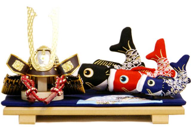 【五月人形 送料無料】長鍬形兜・鯉のぼり 平飾り《48KB-3》