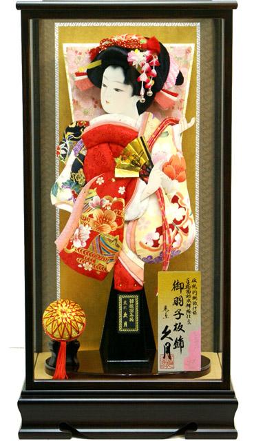 【羽子板 送料無料】久月作 麗花 刺繍友禅 黒檀調ケース飾り《15220-3》