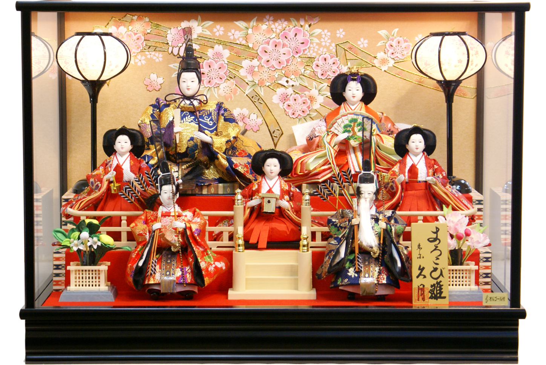【雛人形 送料無料】久月作 七人飾り「よろこび雛」ケース飾り《69815》