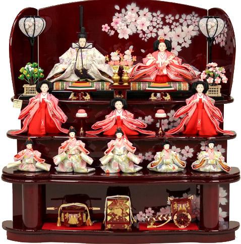 【雛人形 送料無料】千匠作 十人「雛ごよみ」 三段飾り《46A-18》