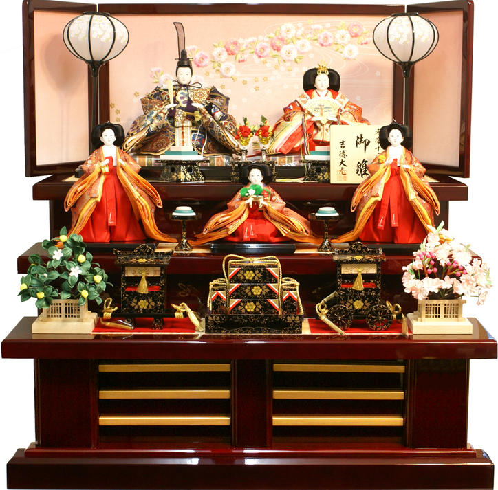 【雛人形 送料無料】吉徳大光 伝統紋様束帯十二単「御雛」五人 三段飾り《606-910》
