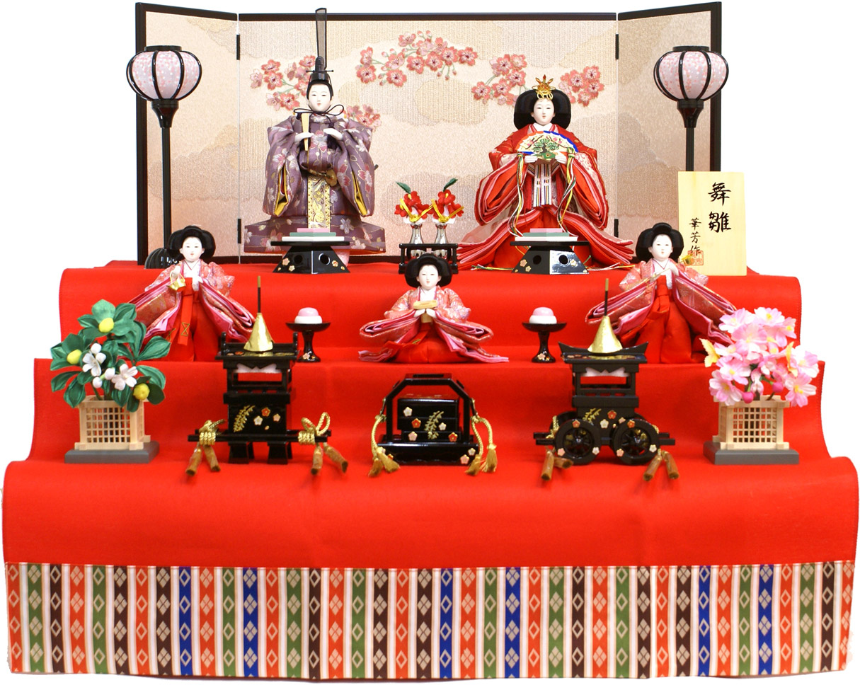 【送料無料 雛人形】華芳作 「立雛」 三段収納飾り《19-105》
