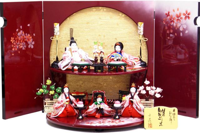【雛人形 送料無料】千匠作 五人一体飾り「雛ごよみ」 二段飾り《47A-41》