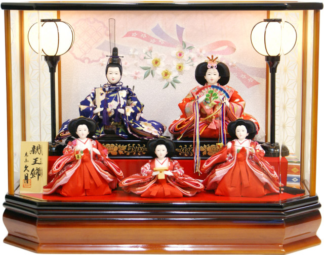 【雛人形 送料無料】久月作 三人官女「よろこび雛」 五人 アクリルケース飾り《65911》