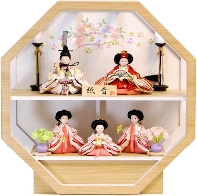 【雛人形 送料無料】フジキ工芸作 壁掛け「紙音」 五人飾り《4E15-ST-576A》