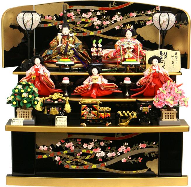 【送料無料 雛人形】千匠作 「雛ごよみ」 三段収納飾り 45A-44
