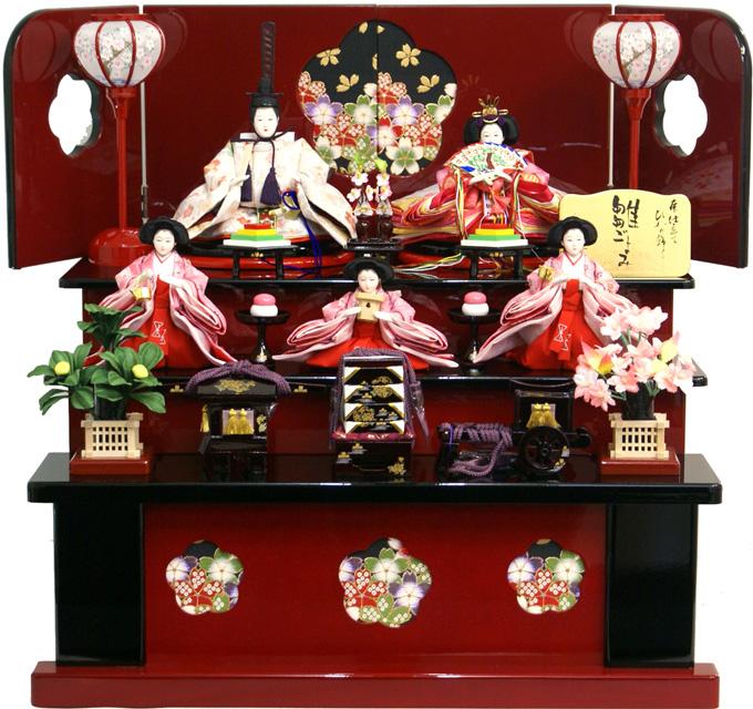【送料無料 雛人形】千匠作 刺繍「雛ごよみ」 三段収納飾り《45A-46》