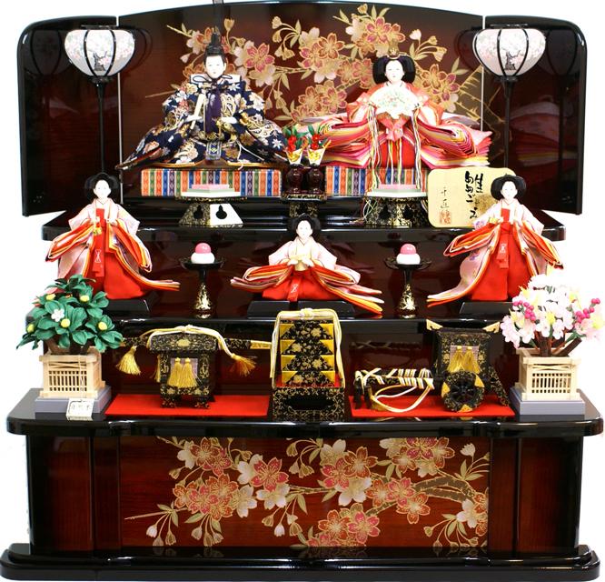 【人気商品 雛人形】千匠作 天使の十二単衣「雛ごよみ」三段飾り《45A-17》