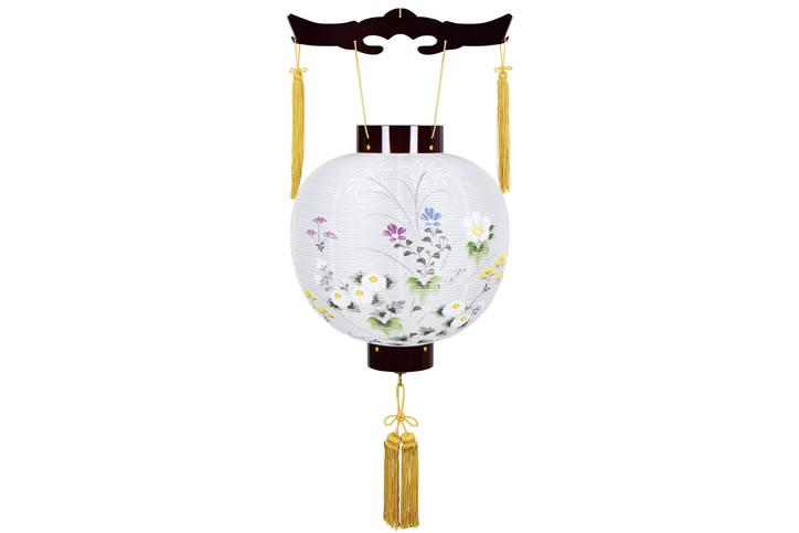 盆提灯 吊提灯 ワイン絹絵入 御殿丸 8016-11-132E