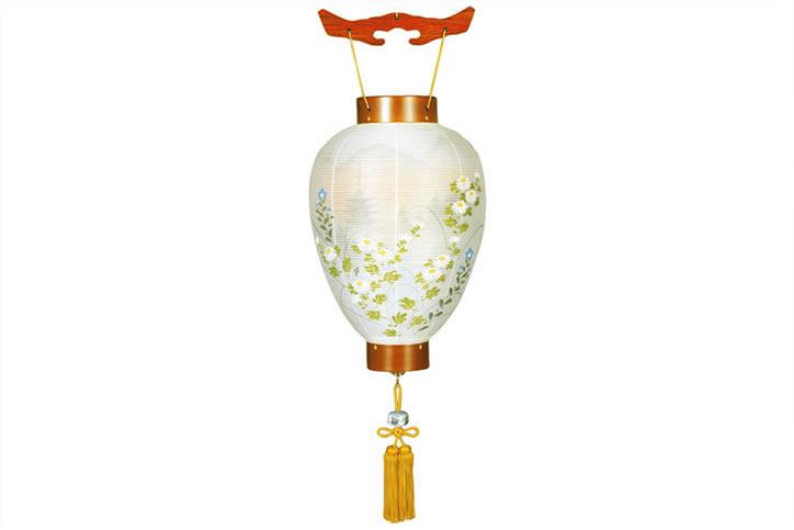 盆提灯 吊提灯 別選萩の香 絹二重絵入 壺型《8133-00-254J》