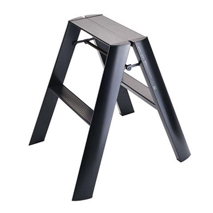 【送料無料 一部地域除く】2段タイプデザイン脚立lucano(ルカーノ)2-step ブラック ワンタッチバー付[※代引不可]