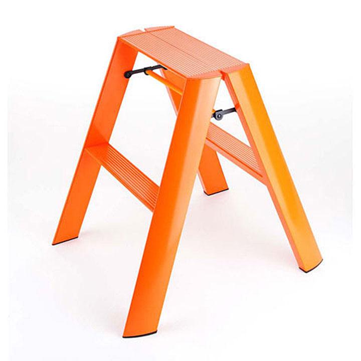 【送料無料 一部地域除く】2段タイプデザイン脚立lucano(ルカーノ)2-step オレンジ ワンタッチバー付[※代引不可]