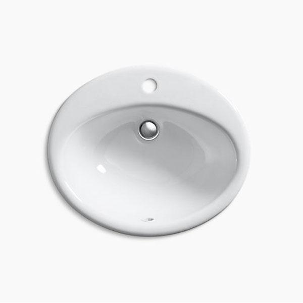 【正規輸入品】【日本語施工説明書・メーカー保証書付】【KOHLER】ファーミントン ドロップイン 1H 洗面シンク K-2905-1-0