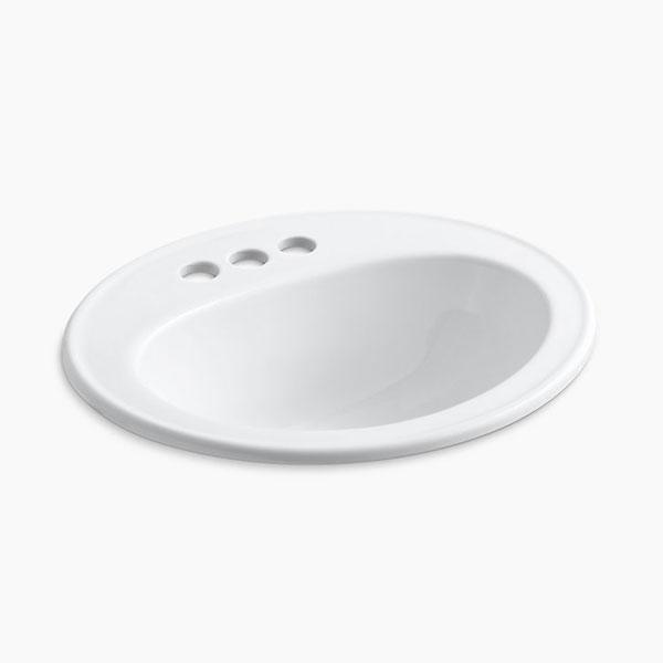 【正規輸入品】【日本語施工説明書・メーカー保証書付】【KOHLER】ペニントン ドロップイン 3HW 洗面シンク K-2196T-4-0