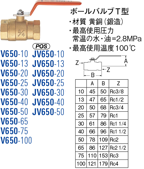 【店内商品ポイント10倍!12月5日(水)0:00~23:59まで!】ボールバルブT型 V650-75