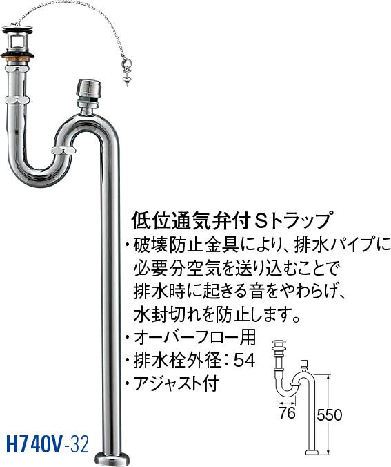 【送料無料 一部地域除く】低位通気弁付Sトラップ H740V-32