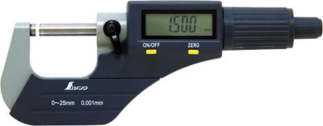 デジタルマイクロメーター 0~25mm H61×W156×D28mm 197g