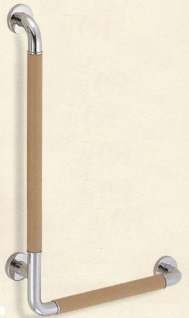 SHIROKUMA L形(左) ベージュ鏡面磨 35ø 白熊】 室内用補助手すり 革巻き手すり 【シロクマ [br-871l-a] br871la