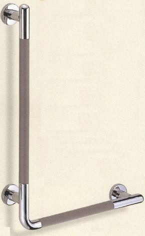 【シロクマ SHIROKUMA 白熊】 室内用補助手すり シート巻き手すり L形(左)ダークグレー鏡面磨 32ø [br-873l-a] br873la