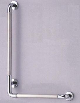 【シロクマ SHIROKUMA 白熊】 手すり L形丸棒ニギリバー(左) 浴室用手すり クローム・ヘアーライン 32ø [no_802l-a] no_802la