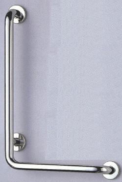 【シロクマ SHIROKUMA 白熊】 手すり L形丸棒ニギリバー(左) 浴室用手すり ヘアーライン 25ø [no_810l-b] no_810lb