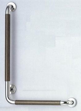 【シロクマ SHIROKUMA 白熊】 手すり L形ウッドニギリバー(左) 浴室用手すり 鏡面磨/ダークブラウン 35ø [no_812l]