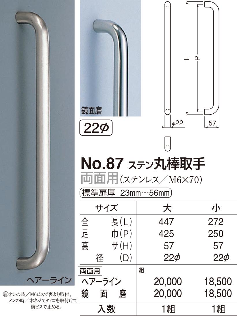 【シロクマ】φ22丸棒取手 両面用 No.87 大 鏡面磨