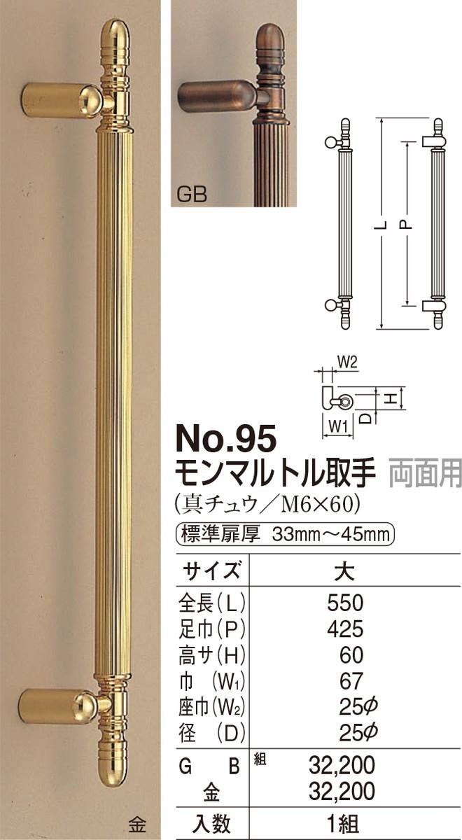 【シロクマ】モンマルトル取手 両面用 No.95 大 金