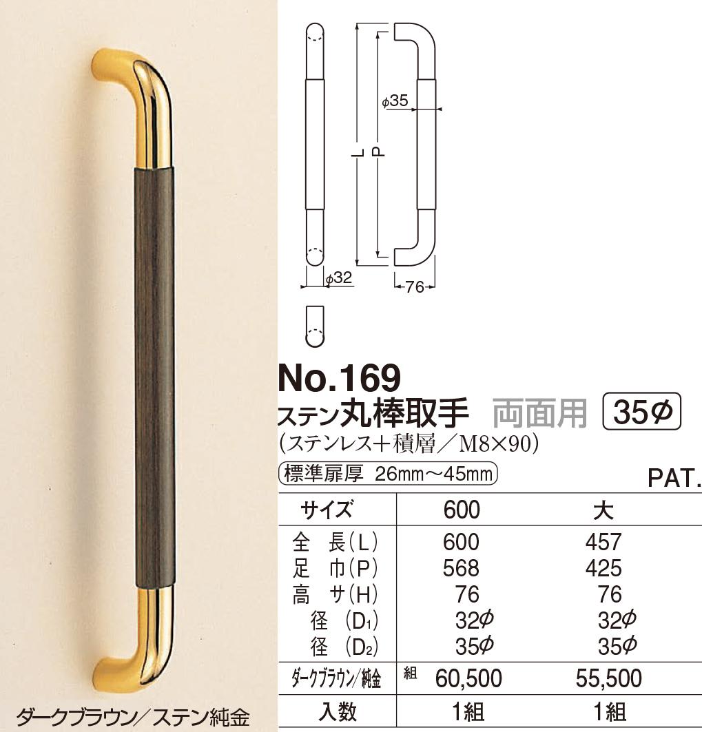 【シロクマ】ステン丸棒取手 両面用 No.169 600mm ブラウン/純金