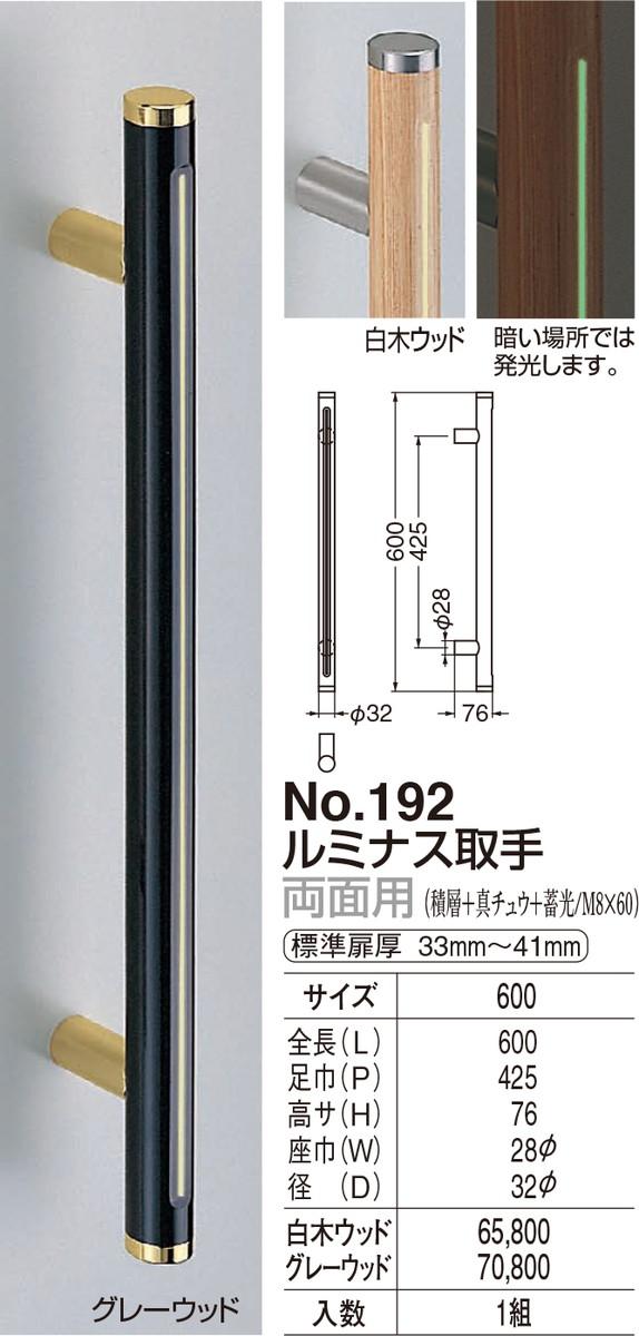 【シロクマ】ルミナス取手 両面用 No.192 600mm グレーウッド