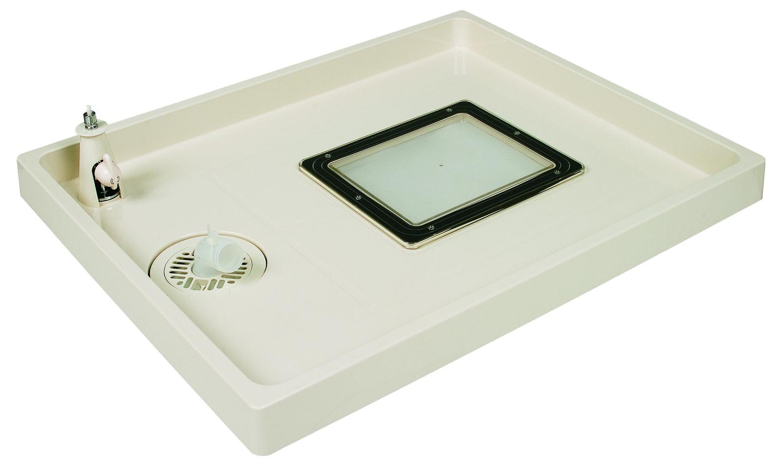点検口・給水栓付防水パン コックタッチエンデバー TSC-800R W800×D640×H63mm アイボリーホワイト 水栓位置:右(R) 点検口:アイボリーホワイト [※代引不可]