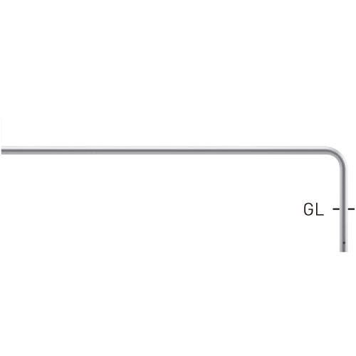 自転車用ジョイント式パイプ (ステンレスタイプ) S80A9ED-18W(エンド支柱:ピッチ2000用) φ42.7×t2.0 W1800×H350mm [※代引不可][個人宅送料別途見積]