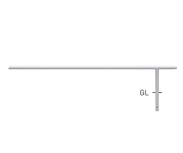 自転車用ジョイント式パイプ (スチールタイプ) 80A9MD-20W白(中間支柱) φ42.7×t2.3 W2000×H350mm [※代引不可][個人宅送料別途見積]
