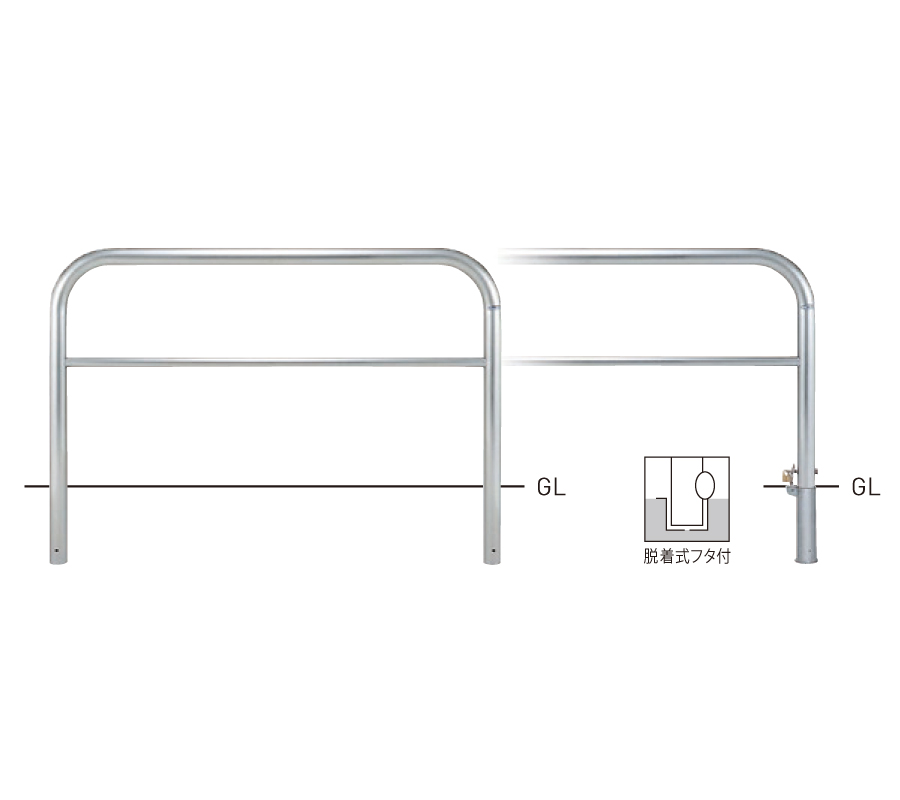 横型スタンダード(ステンレスタイプ) SY82P3-15 φ60.5×t3.0 W1500×H800mm [※代引不可][個人宅送料別途見積]