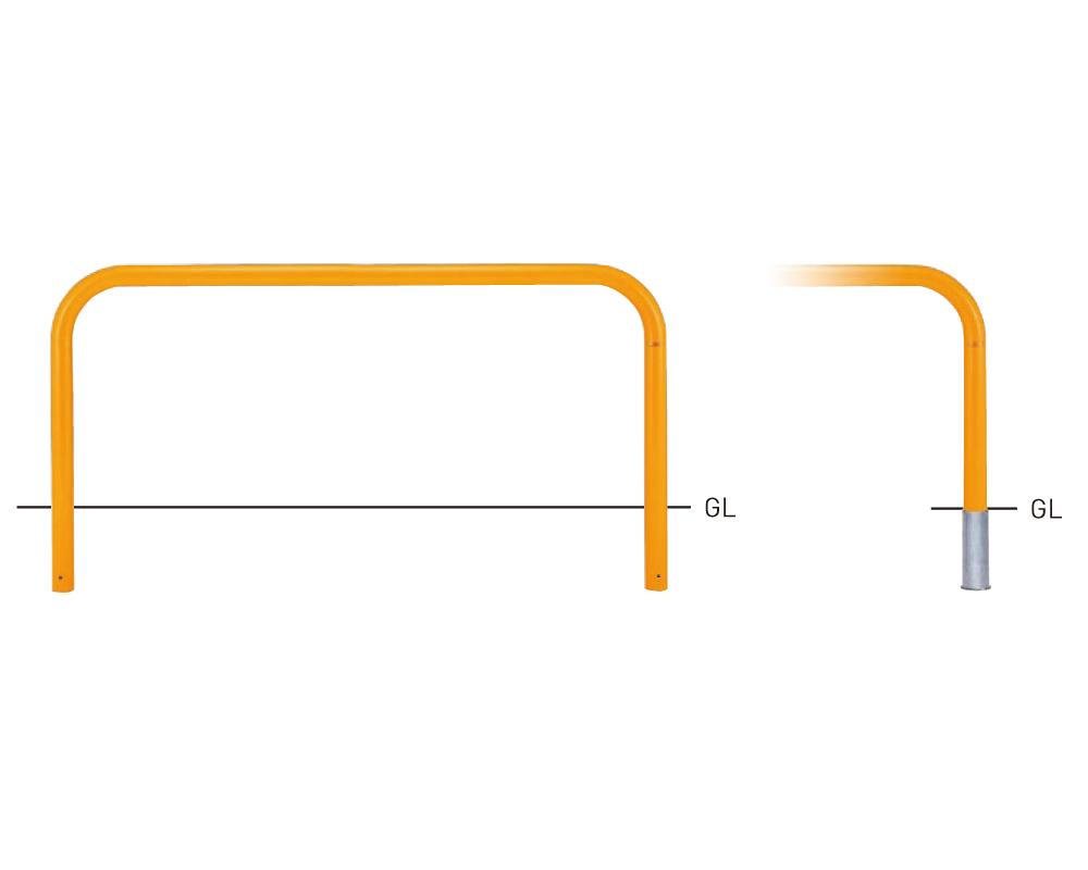 Y83C-20【黄】 横型スタンダード(スチールタイプ) φ76.3×t3.2 W2000×H800mm [※代引不可][個人宅送料別途見積]
