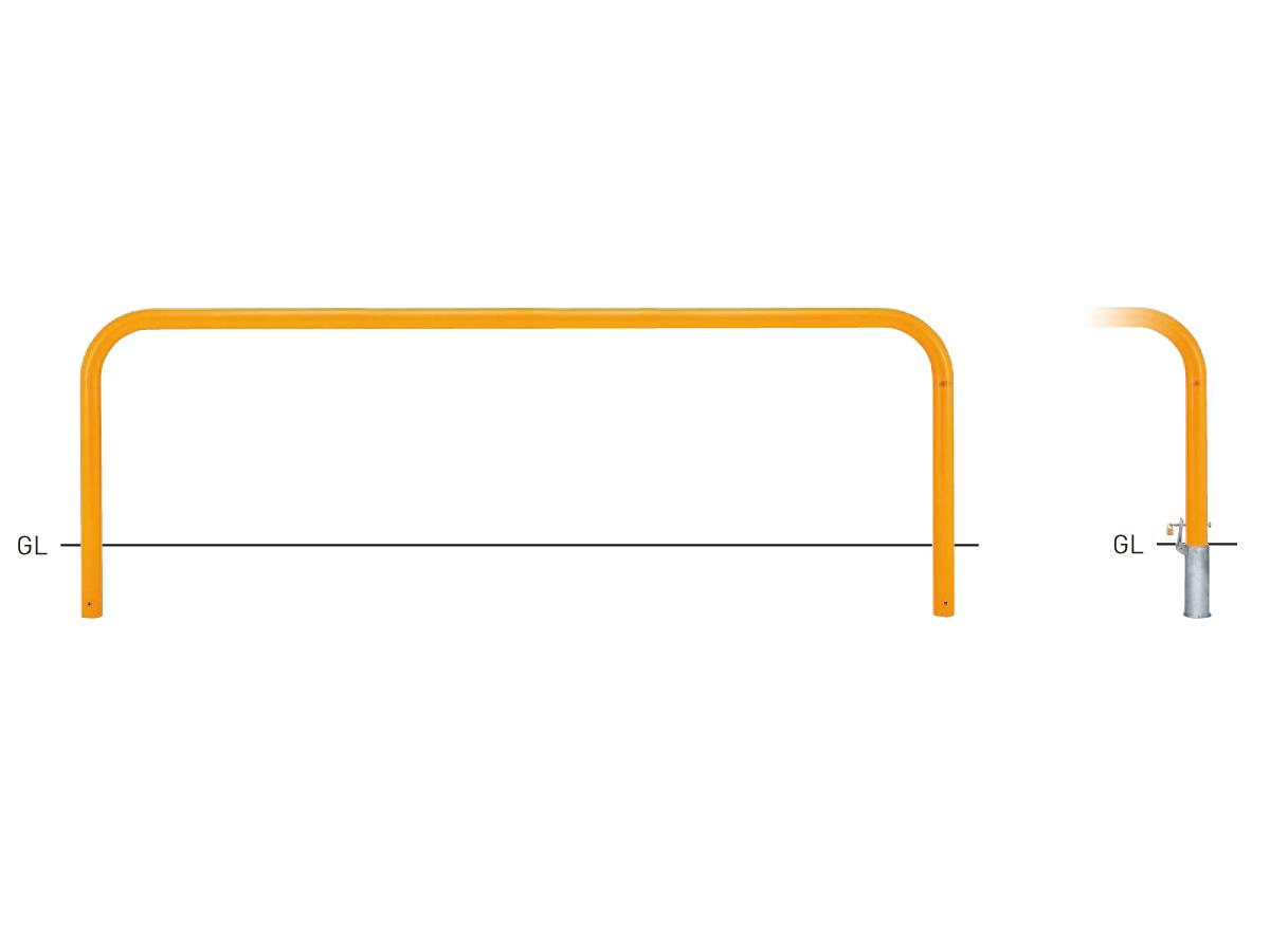 Y83PK-30【茶】 横型スタンダード(スチールタイプ) φ76.3×t3.2 W3000×H800mm [※代引不可][個人宅送料別途見積]