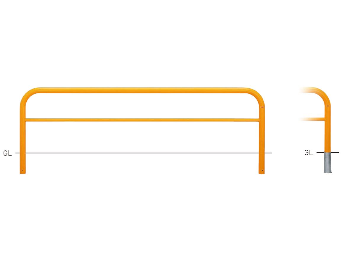 Y83C3-30【黄】 横型スタンダード(スチールタイプ) φ76.3×t3.2 W3000×H800mm [※代引不可][個人宅送料別途見積]