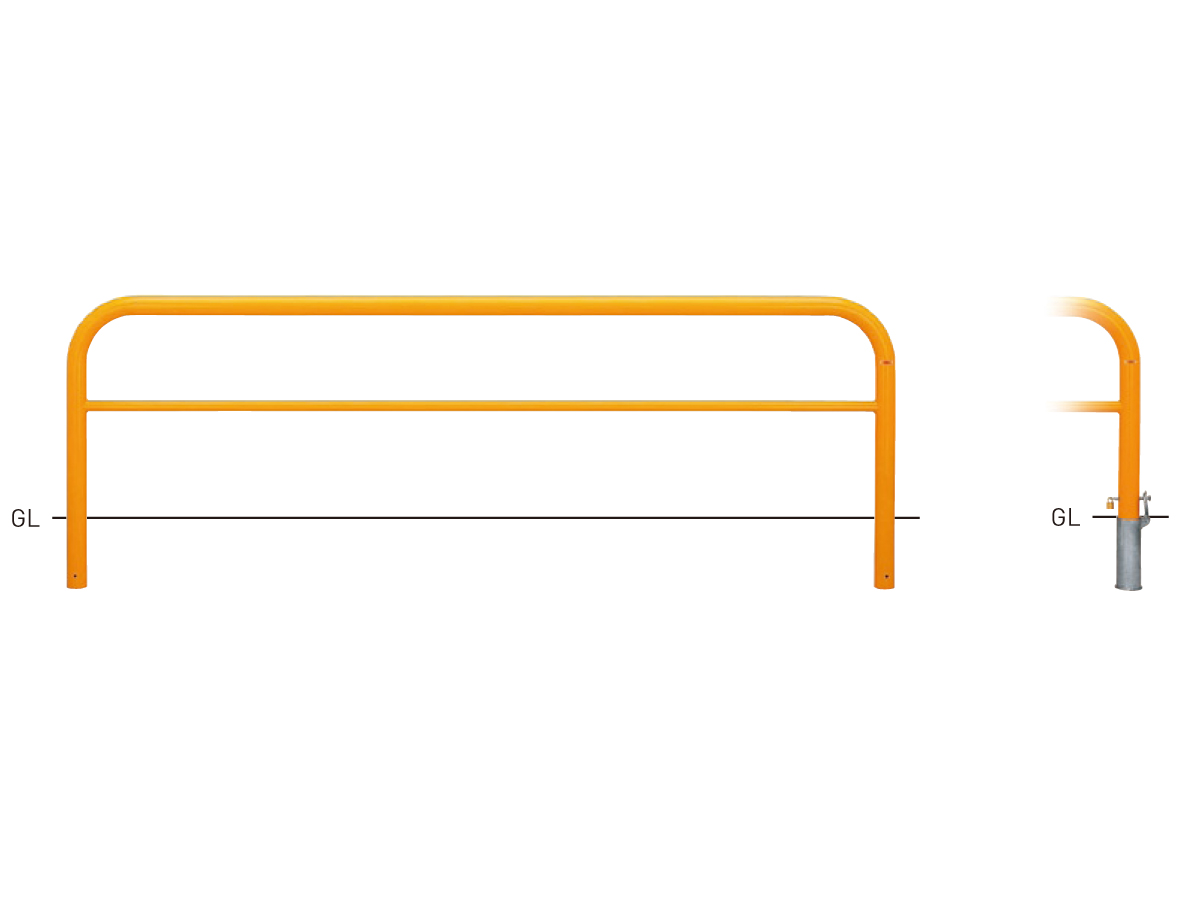 Y83PK3-30【茶】 横型スタンダード(スチールタイプ) φ76.3×t3.2 W3000×H800mm [※代引不可][個人宅送料別途見積]