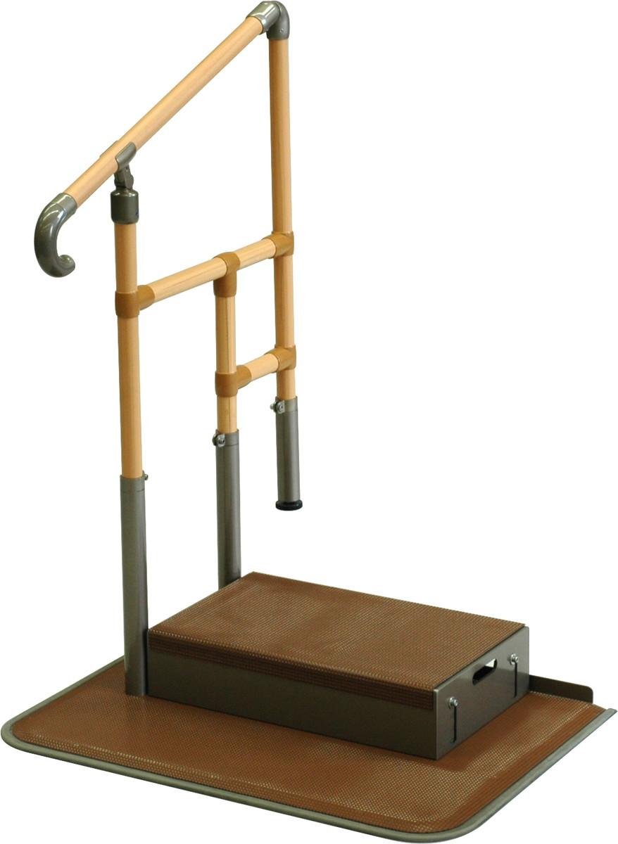 あがりかまち用たちあっぷ ステップ台付 片手すり CKE-02 H80~85(手すり)18~36(あがりかまち)×W78×D56+18cm 質量:33.8kg [※代引不可]
