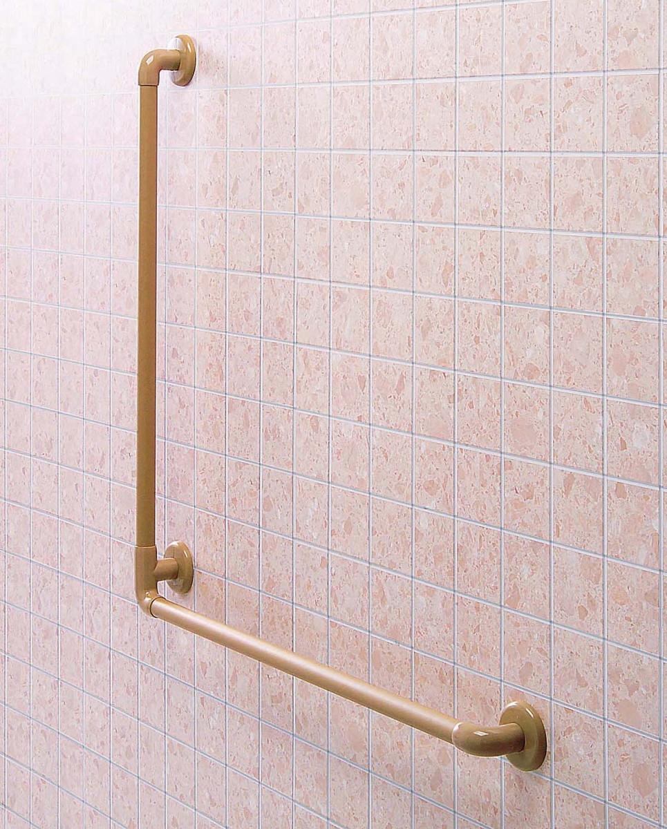 φ32浴室まわりオーダー手すり(左用) CEX-4L-W H900×W900mm ホワイト[※代引不可]