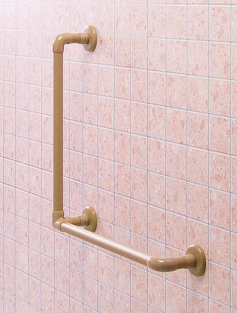 φ32浴室まわりオーダー手すり(右用) CEX-7R-W H600×H600mm ホワイト[※代引不可], Chrome Sports:fec5cddd --- mcafeestore.jp