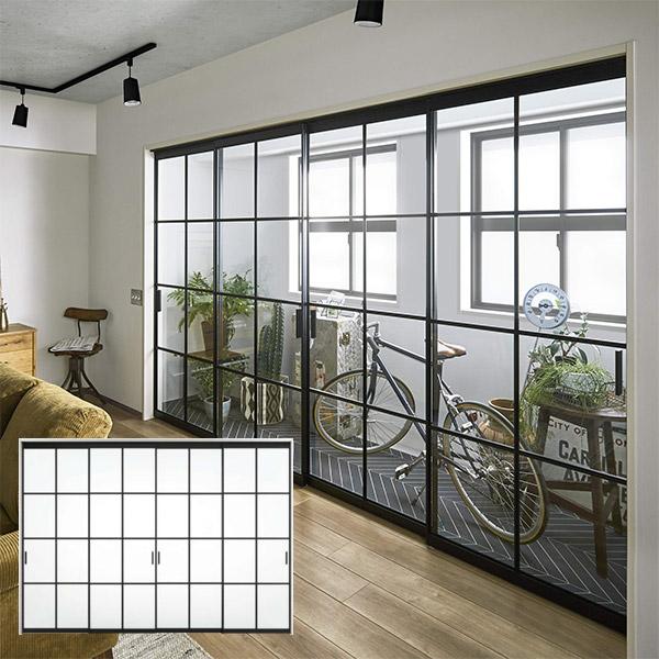 DAIKEN(大建工業) hapia(ハピア) 間仕切戸 ラインフレーム 4枚引違(下レールレス) 格子採光デザイン 8尺インナーテラス アルミフレーム
