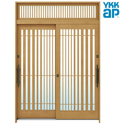 YKKAP 玄関引戸 れん樹 6尺2枚建デザインA15 複層ガラス仕様 ランマ付/ランマ無 全4柄 伝統和風