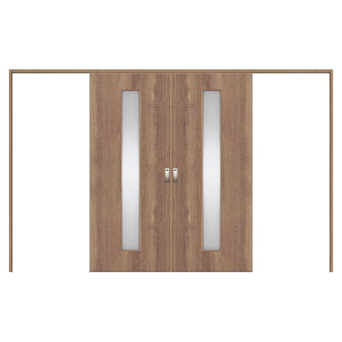 Panasonic/パナソニック 上吊り引戸セット 2間2枚両引き戸(U4)[デザインSC型] 枠納まり 固定枠仕様XMJE1SCDNU4N71□内装ドア VERITIS/ベリティス 採光タイプ